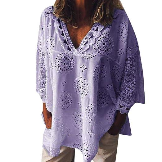bc5306f986 TOPUNDER Womens Loose Long Sleeve Chiffon Casual Blouse Shirt Tops Fashion  Blouse