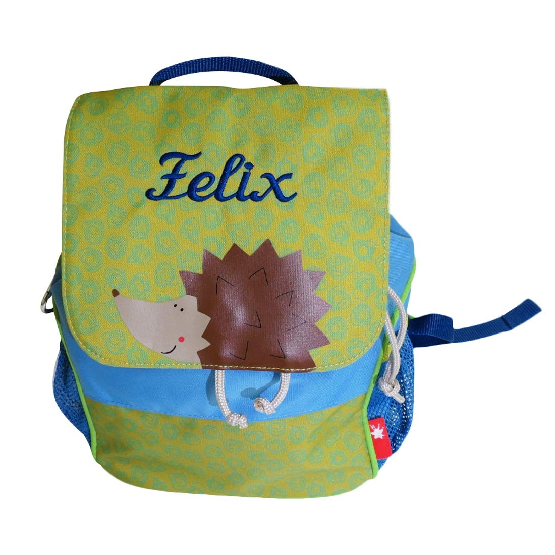Sigikid Kinder Kinder Kinder Rucksack Igel mit Namen Besteickt grün blau 28 cm x 16 cm x 24 cm für Kindergarten Kita f553d3