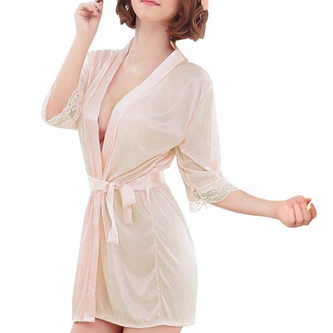 dfae85cb1f Sidiou Group Vestido Pijama Mujer Kimono Corto Bata de Satén Lencería  Kimono del Cordón Satén Seda