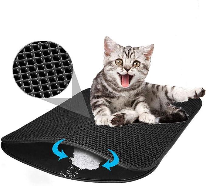 Afombra para Gatos, Diseño de Doble Capa de Nido de Abeja de Caja de Arena para Gatos a Prueba de orina, Control de Basura Limpio y Simple: Amazon.es: Productos para mascotas