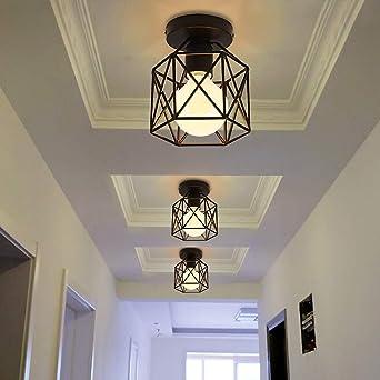 Vintage Hallway Ceiling Light, Black Semi Flush Mount Basket Cage Bedroom Cloakroom Living Room Ceiling Lamp, Suitable E27 Light Bulb