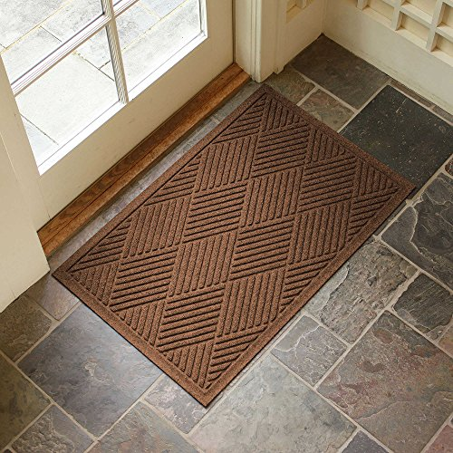 Large Entryway Rug with Non Slip Rubber Backing - Front Door Mat - Outdoor Indoor Entrance Doormat - Diamond Entryway Mat - Made in USA (Dark Brown)