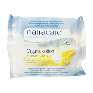 Natracare Organic Cotton Intimate Wipes - 2 Packs of 12