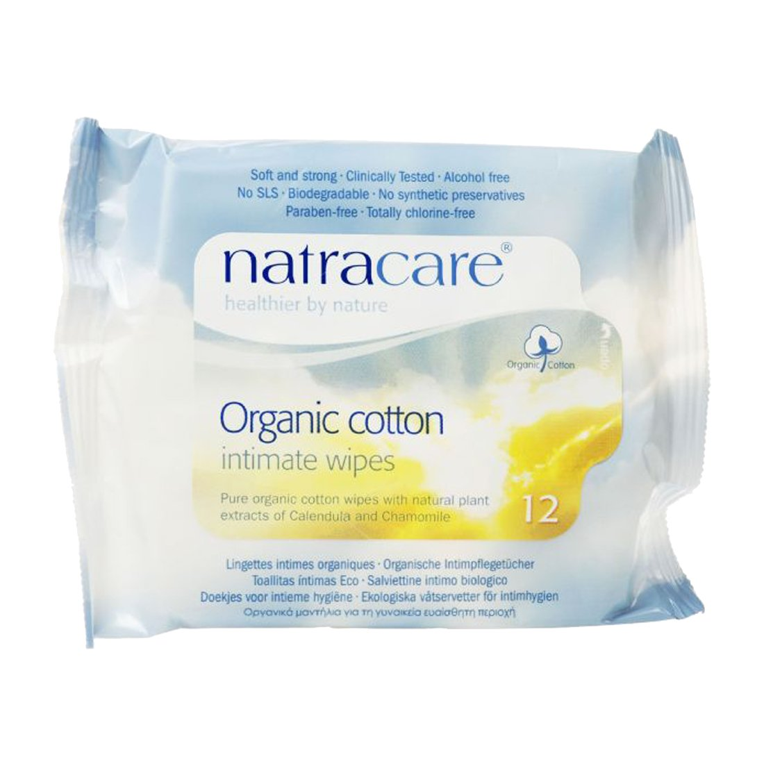 Natracare Organic Cotton Intimate Wipes - 3 Packs of 12