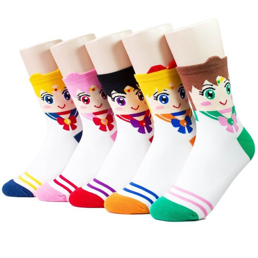 Zabrina 5 Pairs Sailor Moon Women's Cute Cartoon Anime Character Pattern Socks