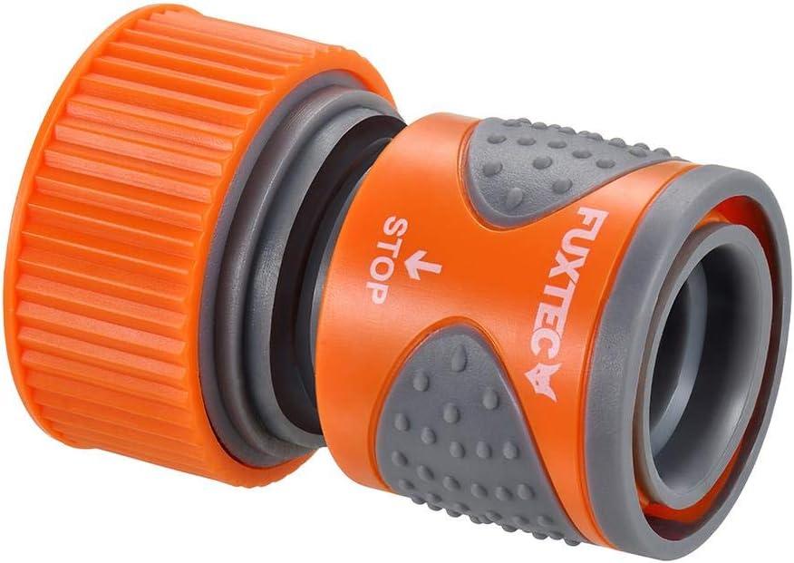 Wasserdurchfluss regulier Fuxtec 2-Wege-Verteiler FX-2WVT2 Anschlussm/öglichkeit f/ür 2 Ger/äte an einen Wasserhahn und absperrbar