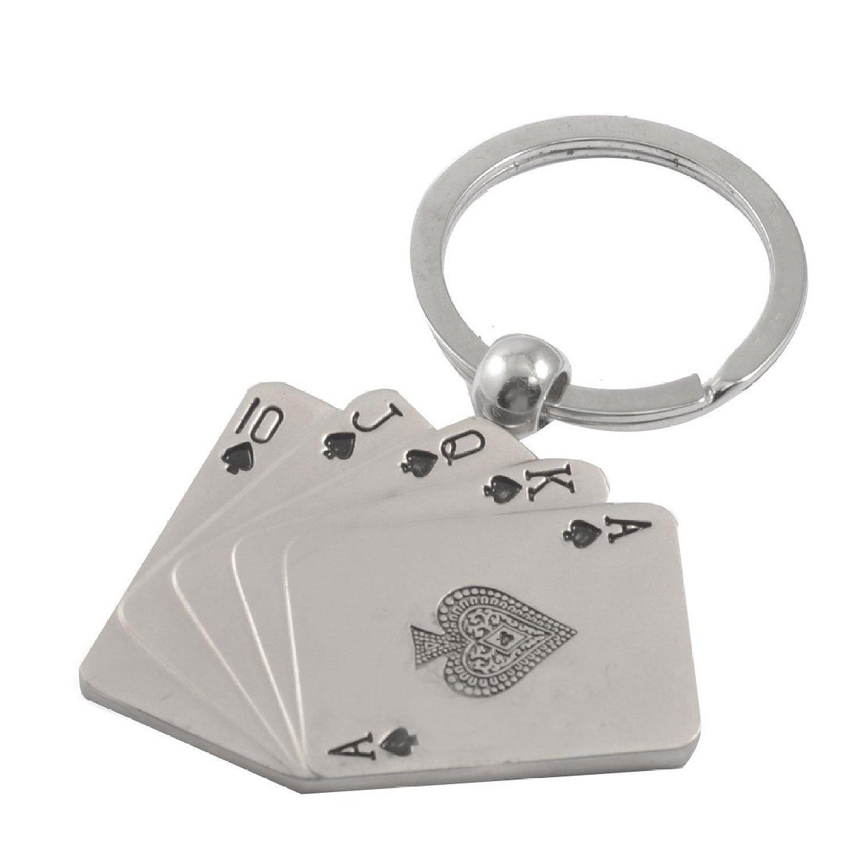 Como colgante metal ton Poker Card-Llavero, color plateado ...