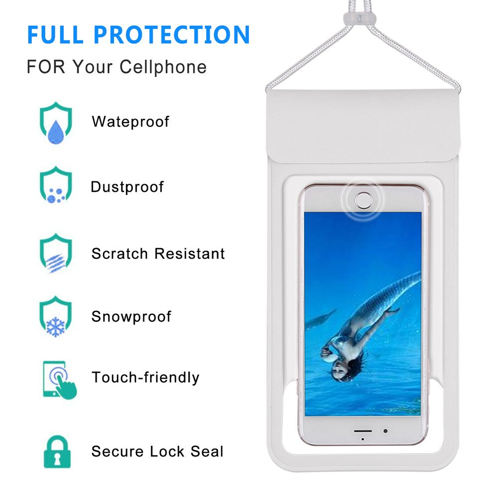 """[2018 NEW] Waterproof Case with Touch ID,Coeuspow Dry Bag Pouch with High Sensitive Fingerprint Recognition for Apple iPhone X 8 7 6 6s Plus, Galaxy etc up to 6.0"""" (white) by Coeuspow (Image #2)"""