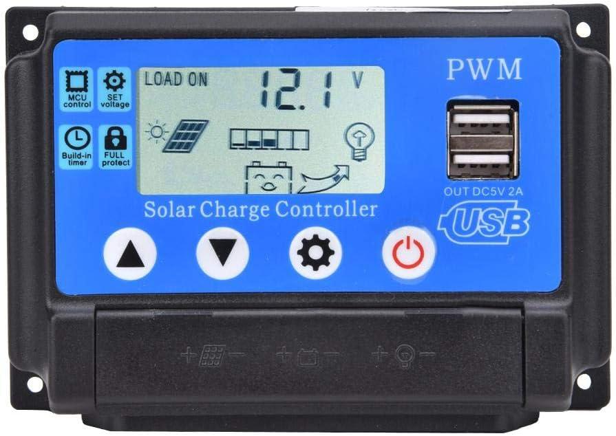 YCX-002-50A 12V//24V YCX-002 10-60A Regolatore del Pannello Solare Regolatore di Carica della Batteria dei Pannelli Solari con Doppia Porta USB /& Display LCD PWM Regolatore di Carica Solare