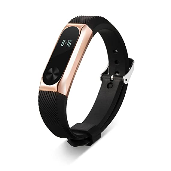 Lookatool Replacement Wristband Band Strap + Metal Case For Xiaomi Mi Band  2 Bracelet (Rose Gold)