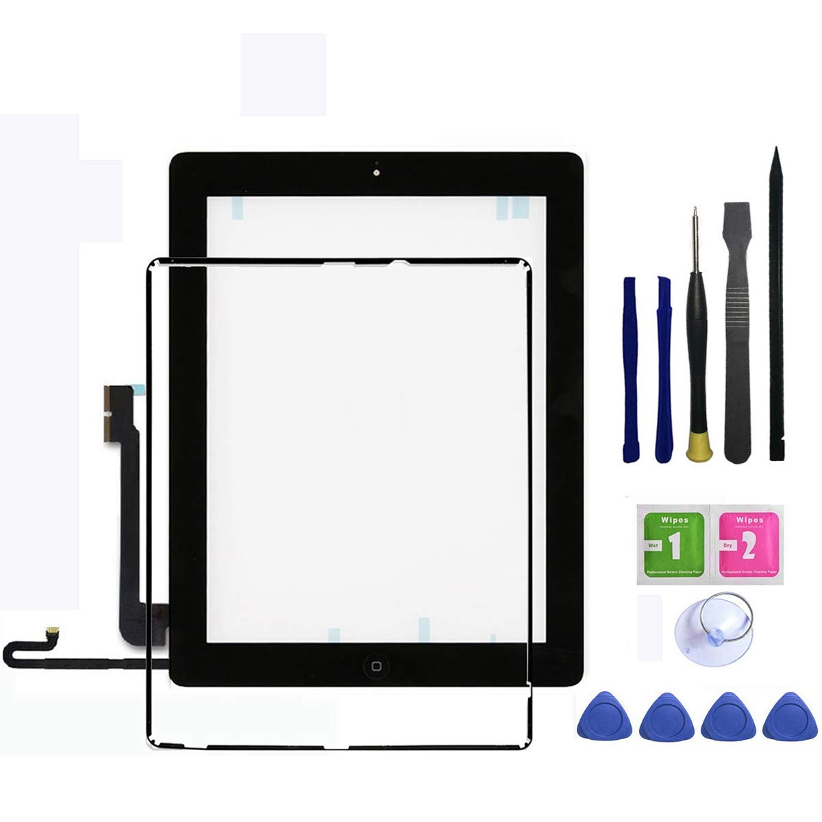 IPad 4 Touch Screen Glass Digitizer Replacement Assembly Includes Home buttom + Camera Holder + Frame Bezel + Preinstalled Adhesive + Premium Repair Toolkit by FeiyueTech.(black)
