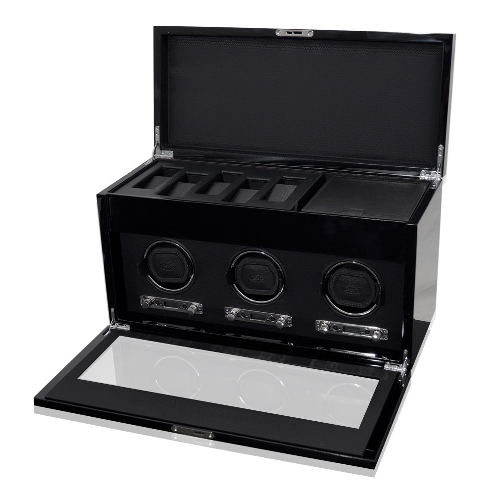 WOLF 454770 Savoy Triple Watch Winder with Cover and Storage, Black by WOLF (Image #3)