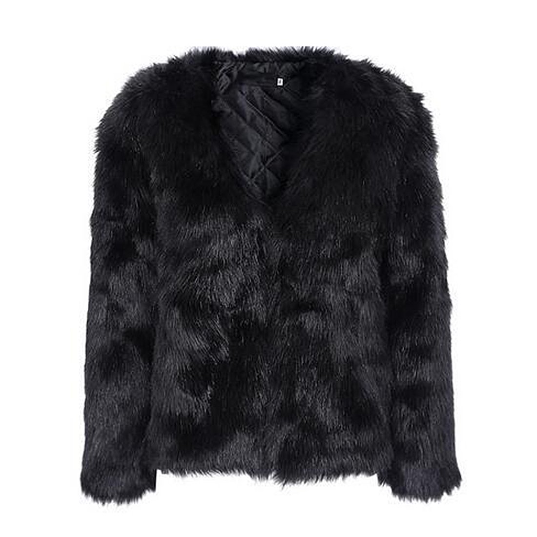 Women's Winter Warm Fluffy Faux Fur Coat Hooded Jacket Cardigan Outerwear Tops for Party Club Cocktail (Black,US 0-2 = Asian S)