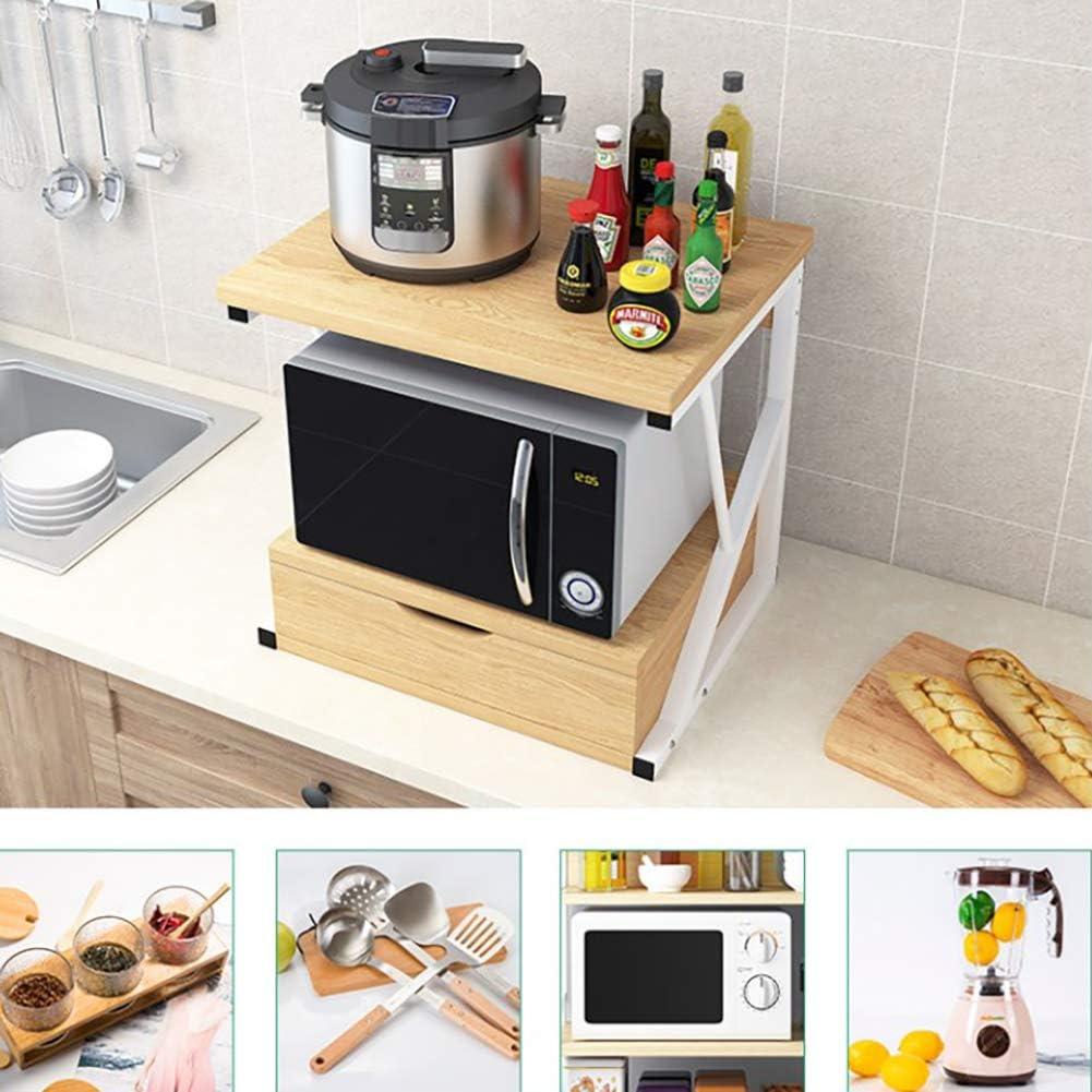 BCXGS Mensola per Forno A Microonde Cremagliera della Cucina Stile Moderno per Vari Stili di Casa Armadietto Organizzatore 2 Strati Multifunzione con Cassetto