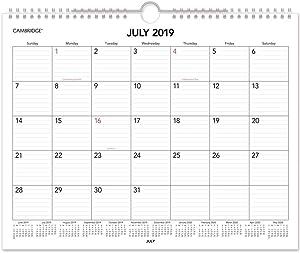 "2019-2020 Academic Wall Calendar, Cambridge Monthly Wall Calendar, 15"" x 12"", Medium (CAM40213)"
