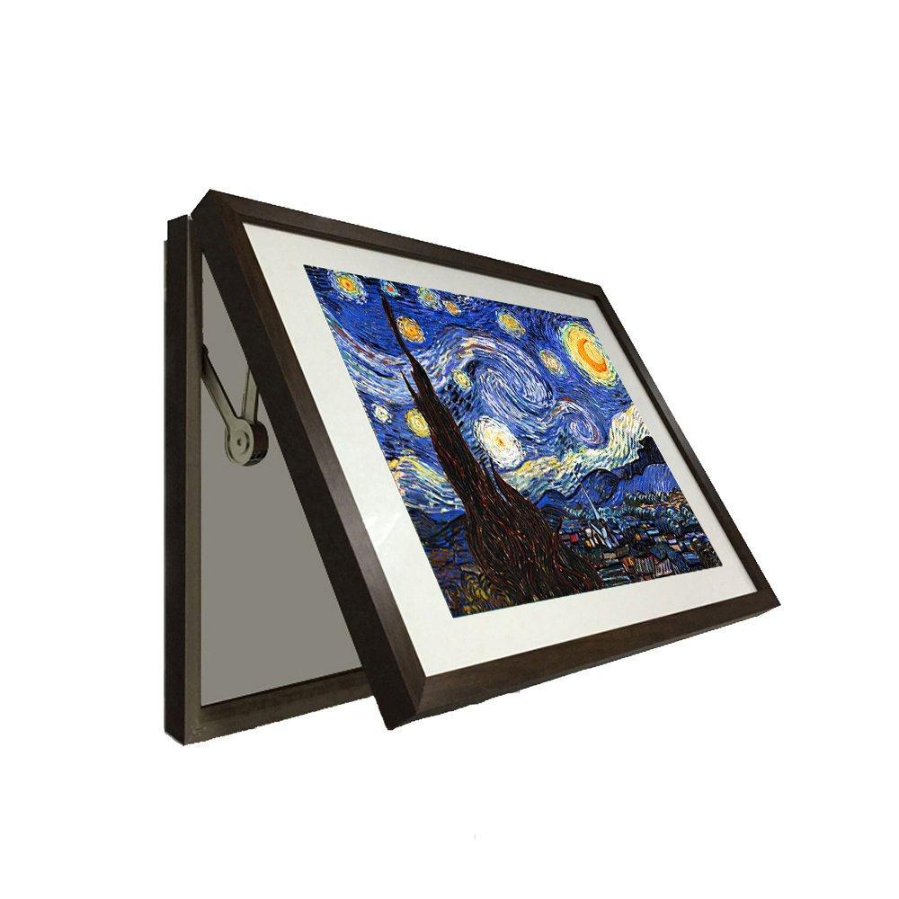 Kreative Arts - Hidden Electrical Switch Box Starry Night Vincent Van Gogh Oil Painting Reproduction Printed on Canvas Classic Art Framed for Wall Decor Easy to Hang (M 23x17inch(58x43cm), Brown)