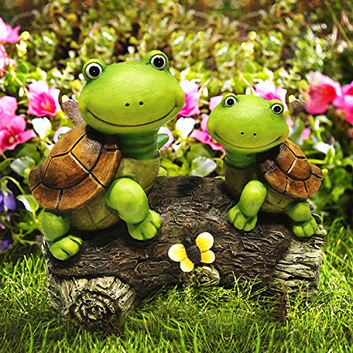 LA JOLIE MUSE Garden Statue Figures Turtles on a Log, 9 Inch Large Resin Patio Lawn Yard Indoor Outdoor Decorations, Housewarming Gift