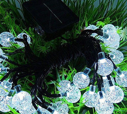 Solar Globe String Lights, 33 Feet 60 Crystal Balls Waterproof LED Fairy Lights, 8 Modes Outdoor Starry Lights Solar Powered String Lights for Home, Garden, Yard Party Wedding (Cool White) by LiyuanQ (Image #1)