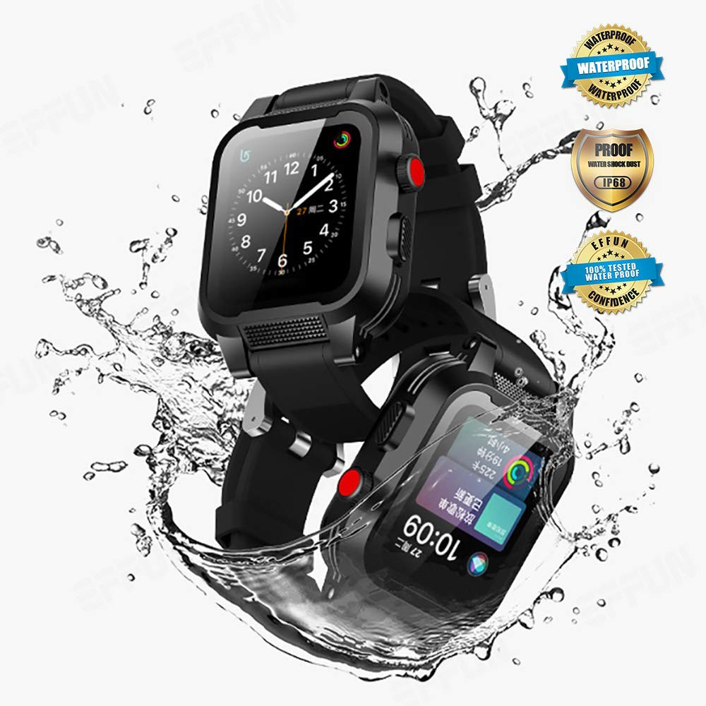Apple Watch Waterproof Case for 38mm Apple Watch Series 3 & 2, EFFUN IP68 Waterproof Shockproof Impact Resistant Apple Watch Case Rugged Protective iWatch Case + 2 Soft Silicone Apple Watch Band Black by EFFUN (Image #1)