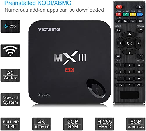 VicTsing MX3 MXIII Amlogic S812 Quad Core Android 4.4 TV box (XBMC) con apoyo Gigabit Ethernet Streaming Media Player con 1080P KODI Wifi 2G RAM + 8G ROM 2.4G / 5G de