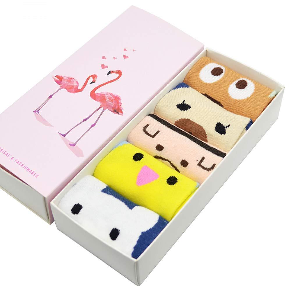 LILIKI@ 5 Par/Set Lindos Dibujos Animados Animales Mujeres Calcetines Oso/Pollo Kawaii Bajo Cut Mujeres Verano Calcetines Cortos con Caja De Regalo: ...