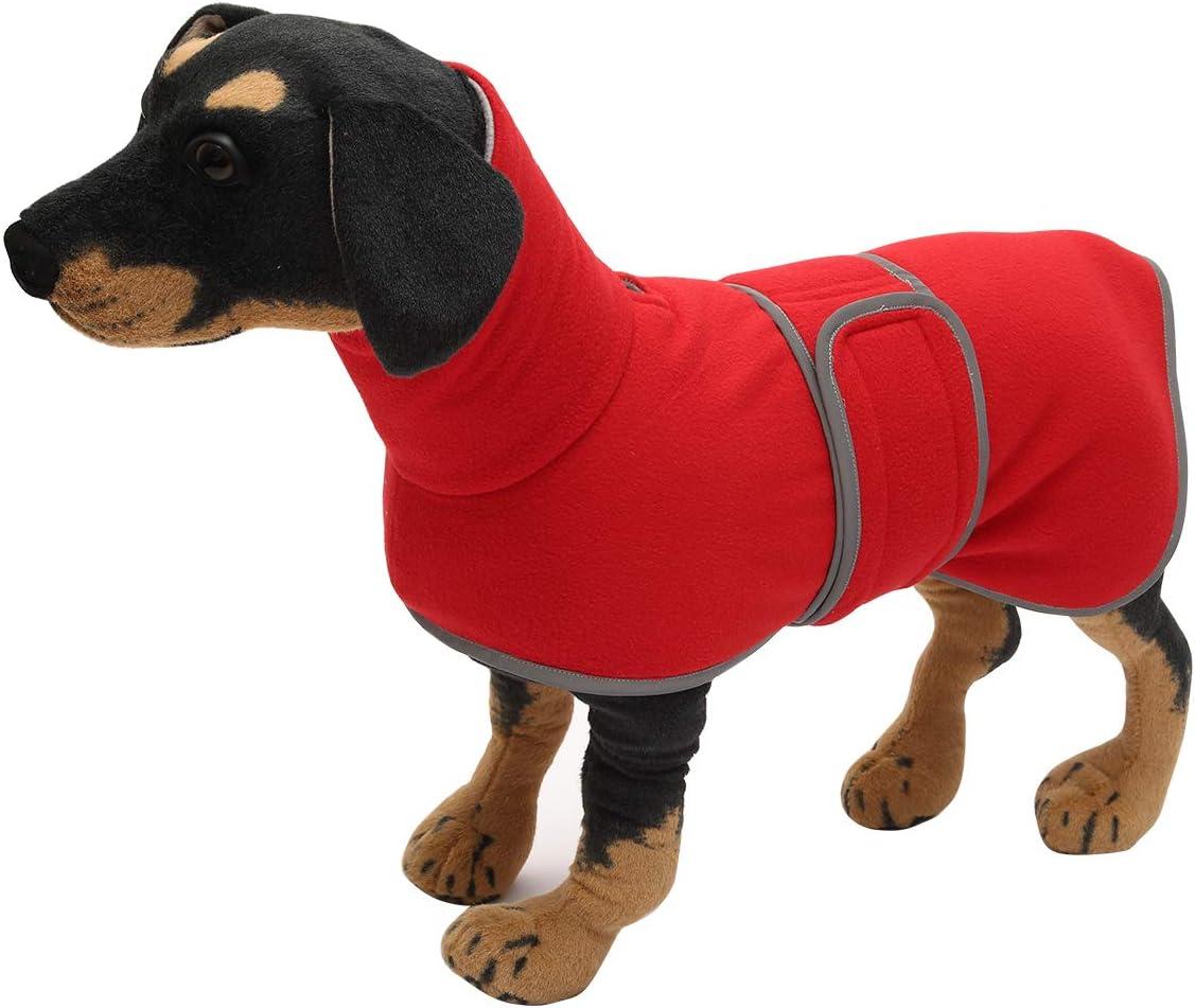 ideal para perros salchichas con forro polar acolchado y cuello alto M Abrigo de perro para perros de corral Morezi traje de nieve para perros con bandas ajustables Gris
