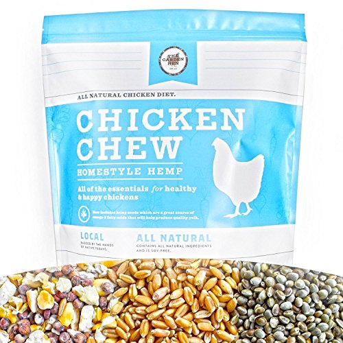 CHICKEN CHEW All Natural Whole Grain Layer Feed: Homestyle Hemp Flavor 7 LBS. Resealable Bag