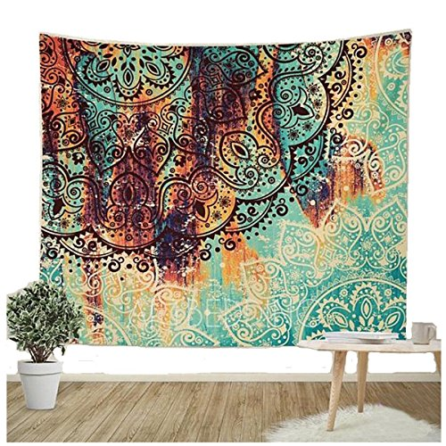 Large Tapestry Wall Hanging - Jiamingyang Flower Elephant Print Wall Hanging Tapestry Bohemian Room Decor Bedding Rug (Large/80