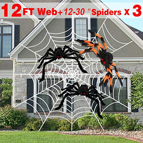 AMENON Halloween Outdoor Decorations, 12 Feet Halloween Giant Spider Web with 3 Large Spider (30