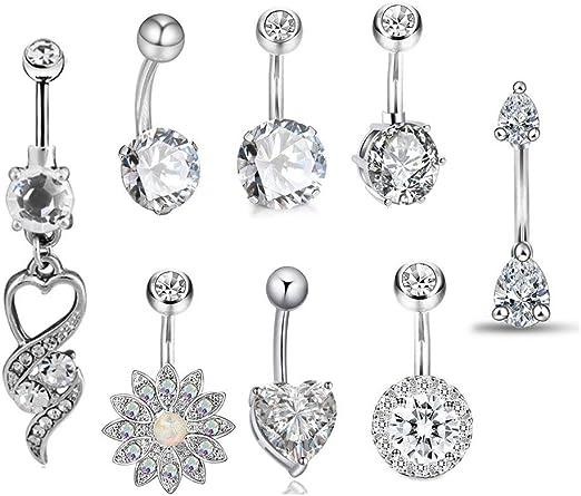 Barra de diamantes de imitación de cristal de plata del vientre de Acero Quirúrgico joyas de cuerpo vendedor de Reino Unido