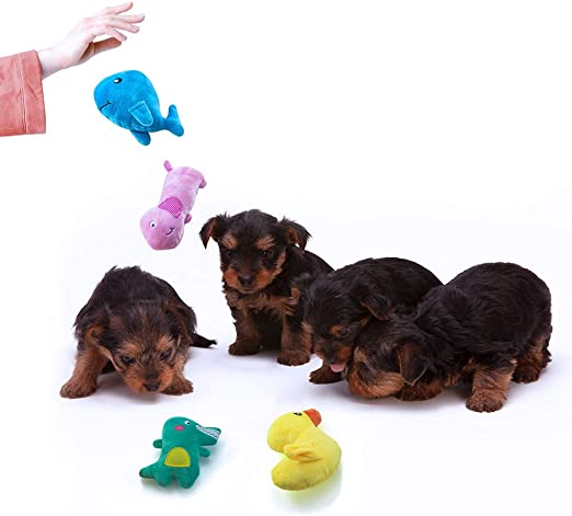 Heyu-Lotus 8 Pack Puppy Chew Toys Small Dog Teething/Training/Toys No Stuffing Squeaky Octopus Toys Cotton Rope Puppy Toys/Soft/Plush Dog Toy for Small Dogs