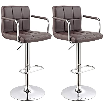 Astonishing Bar Stool Kitchen Bar Stools With Backrest Armrest Set Of 2 Duhome Wy 451K Bar Chair Brown Beutiful Home Inspiration Aditmahrainfo