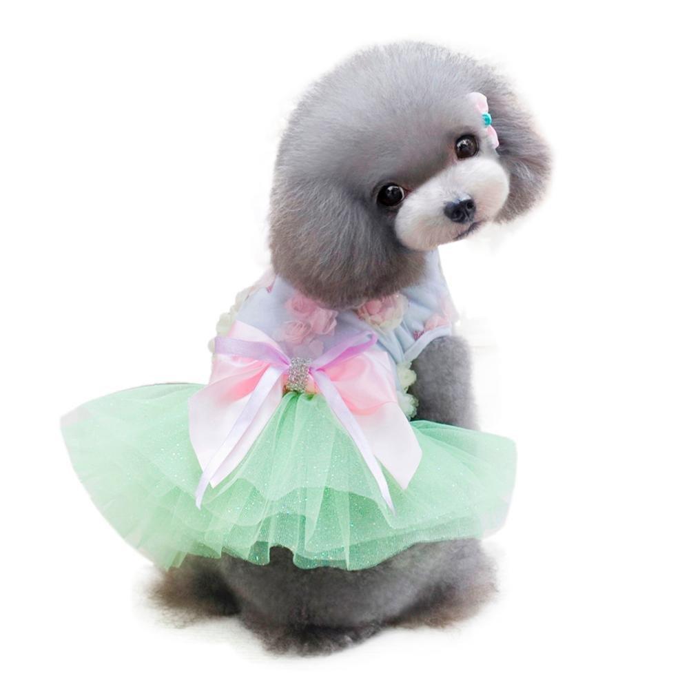 Howstar Pet Dress, Cute Dog Clothes Puppy Skirt Soft Doggy Costume Tutu Apparel Princess Dress (S, Green)
