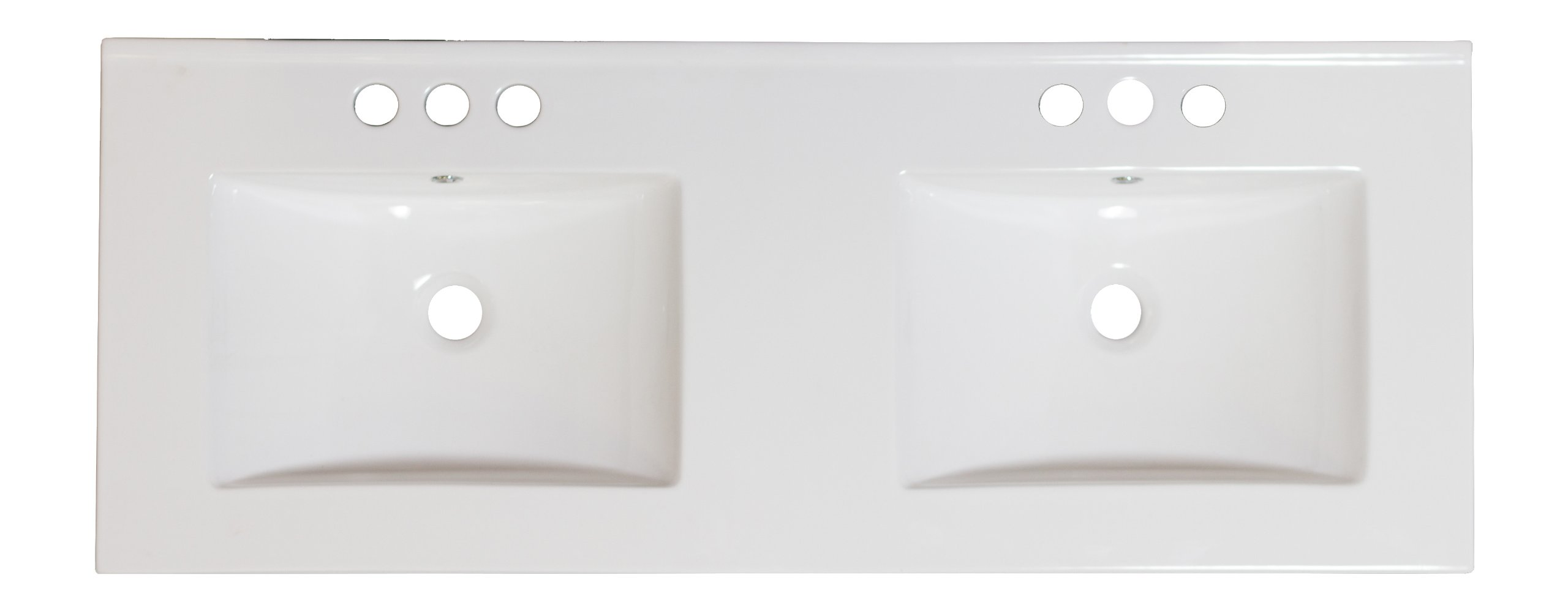 American Imaginations 603   48-Inch W X 18.5-Inch D Double Sink White Ceramic Top for 4-Inch  Off Center Faucet Installation by American Imaginations