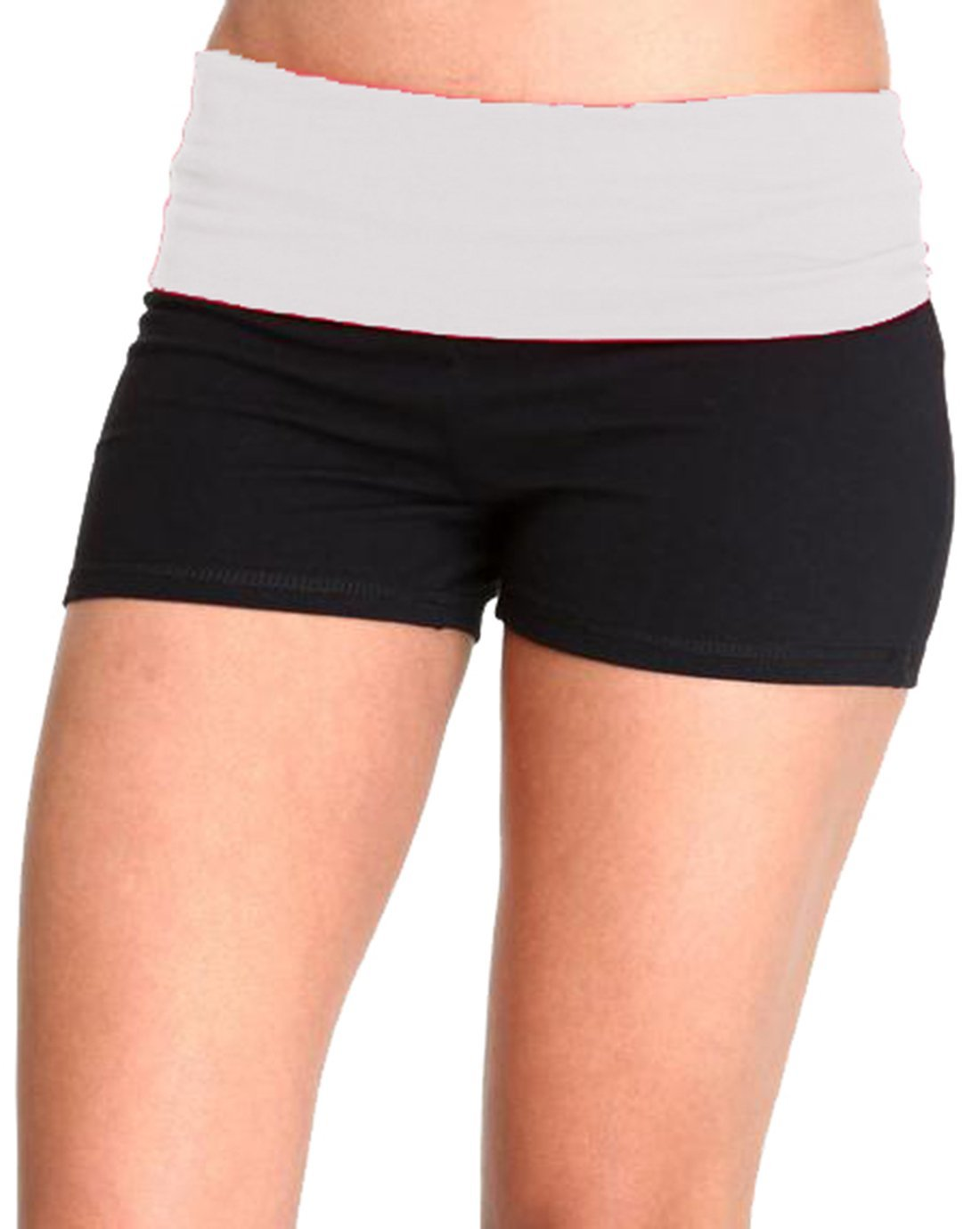 Waist Band Contrast Yoga Fold Over Shorts