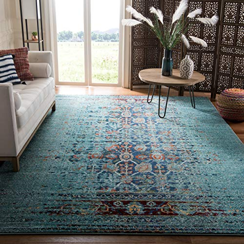 Safavieh Monaco Collection MNC208J Modern Abstract Erased Weave Blue and Multi Distressed Area Rug (5'1