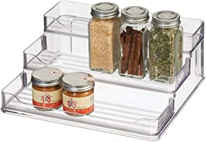 mDesign Plastic Spice and Food Kitchen Cabinet Pantry Shelf Organizer - 3 Tier Storage - Modern Compact Caddy Rack - Holds Spices/Herb Bottles, Jars - for Shelves, Cupboards, Refrigerator - Clear