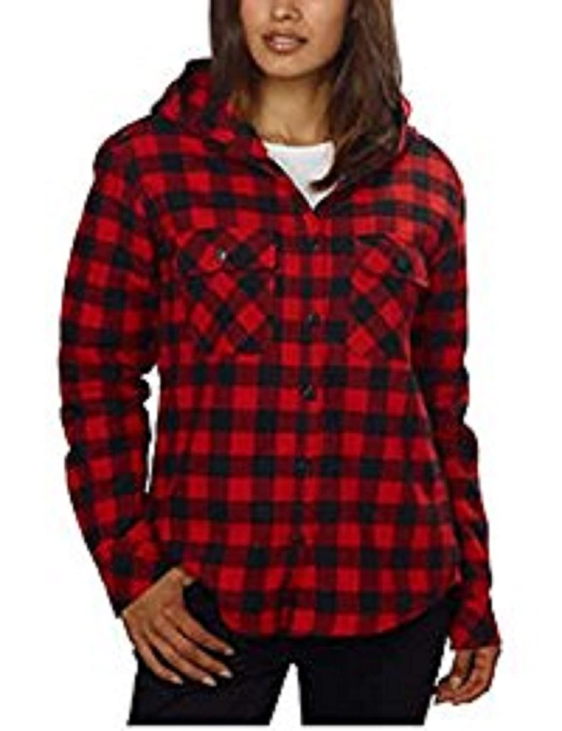 Boston Traders Ladies' Sherpa Lined Hooded Flannel Top (XXL, Red Buffalo Check)