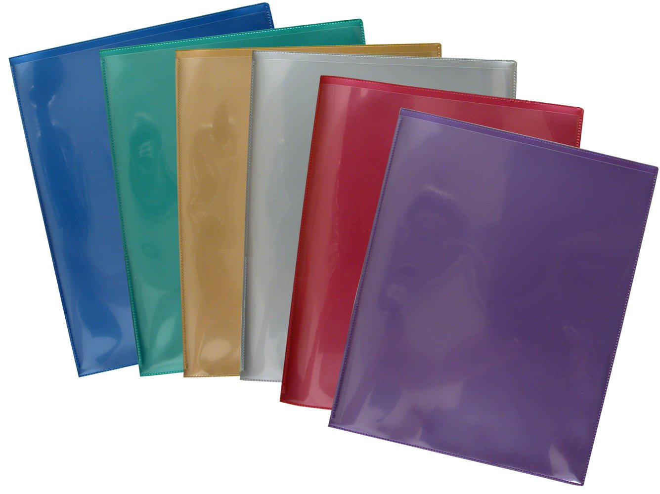 StoreSMART - Plastic Archival Twin Pocket Folders - Metallic Colors 6-pack: 1 of each color - For Business, School, & Home - R900MCP6
