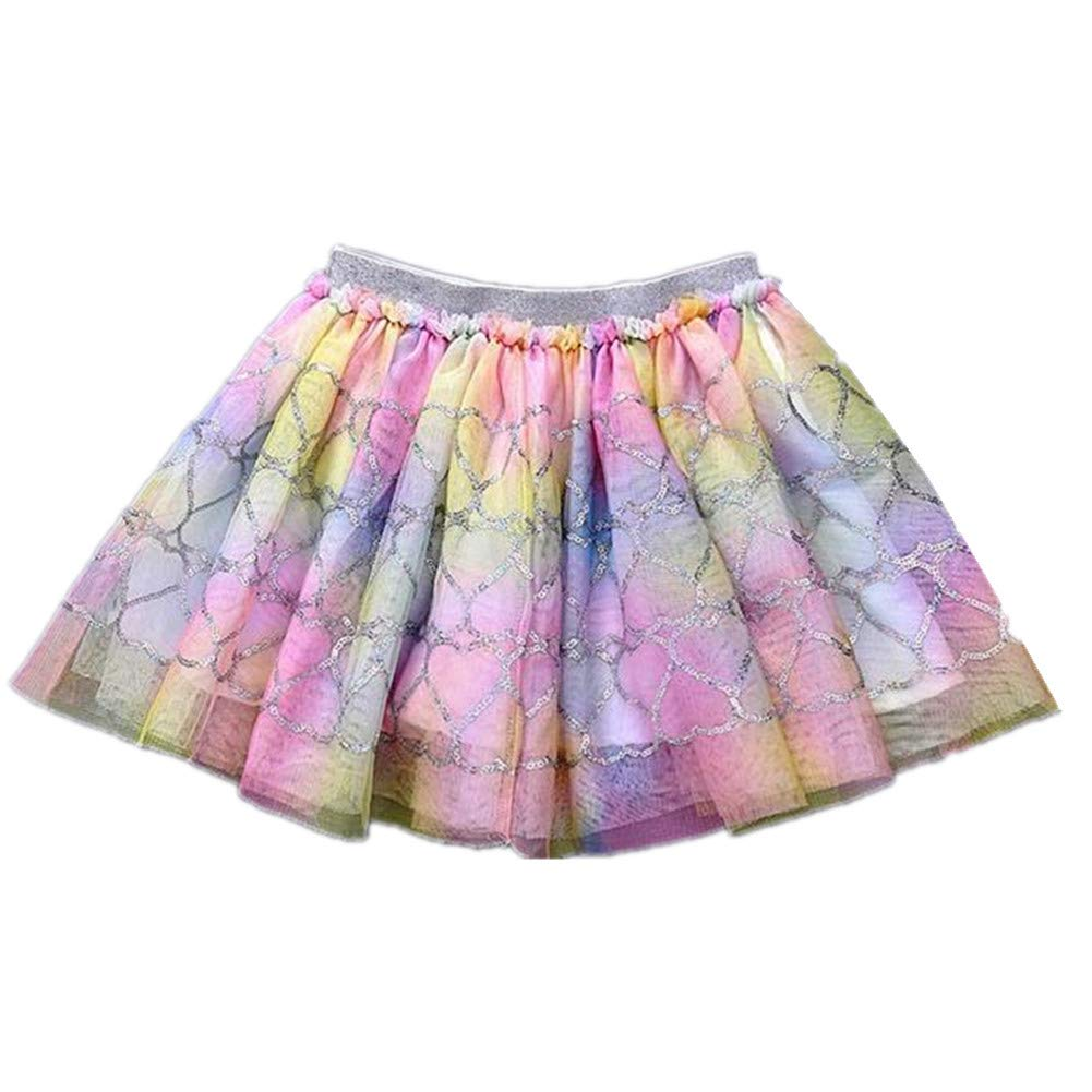 Tsyllyp Little Girls Tutu Skirt Mermaid Sequins Mini Ballerina Birthday Rainbow Dresses