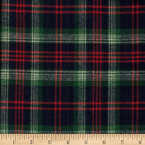 Textile Creations Windstar Twill Flannel Plaid Navy/Red/Green/Natural Fabric by The Yard, - Natural Twill Shirt