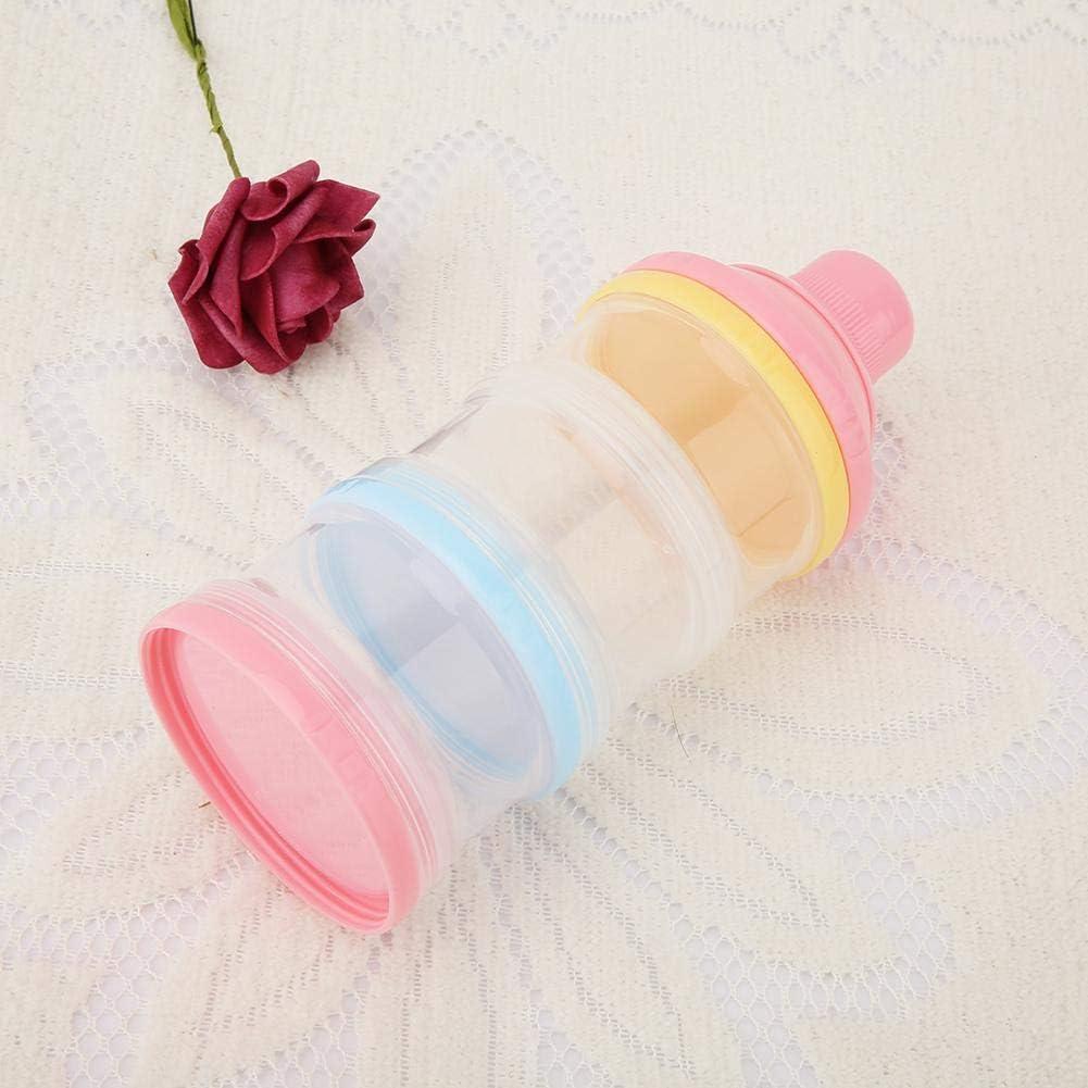 Pink Bo/îte Alimentaire B/éb/é R/écipient Portatif de Bo/îte de Stockage de Nourriture de Bouteille de Distributeur de Lait Infantile de Poudre de 3 Couches