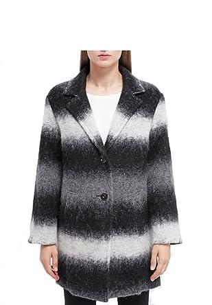 Damen Wollmantel Grau Gemustert 36 Amazonde Bekleidung