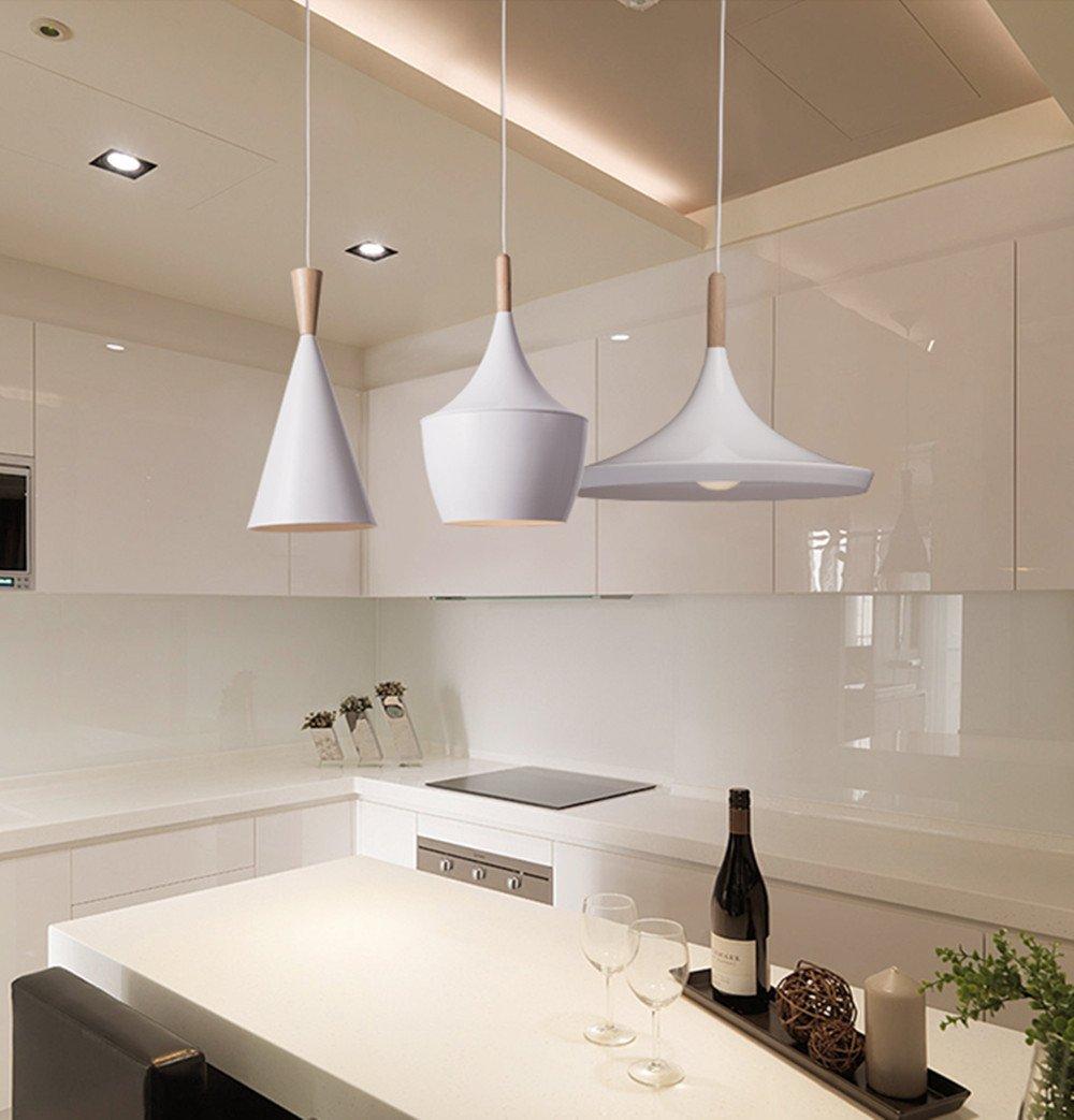 BOKT 60W Single Head Edison Lights Retro Rustic Ceiling Pendant Light fixtures White Aluminum Hanging Chandelier Lighting for Kitchen Living Room Bedroom Home Decor (Style C) by BOKT (Image #4)