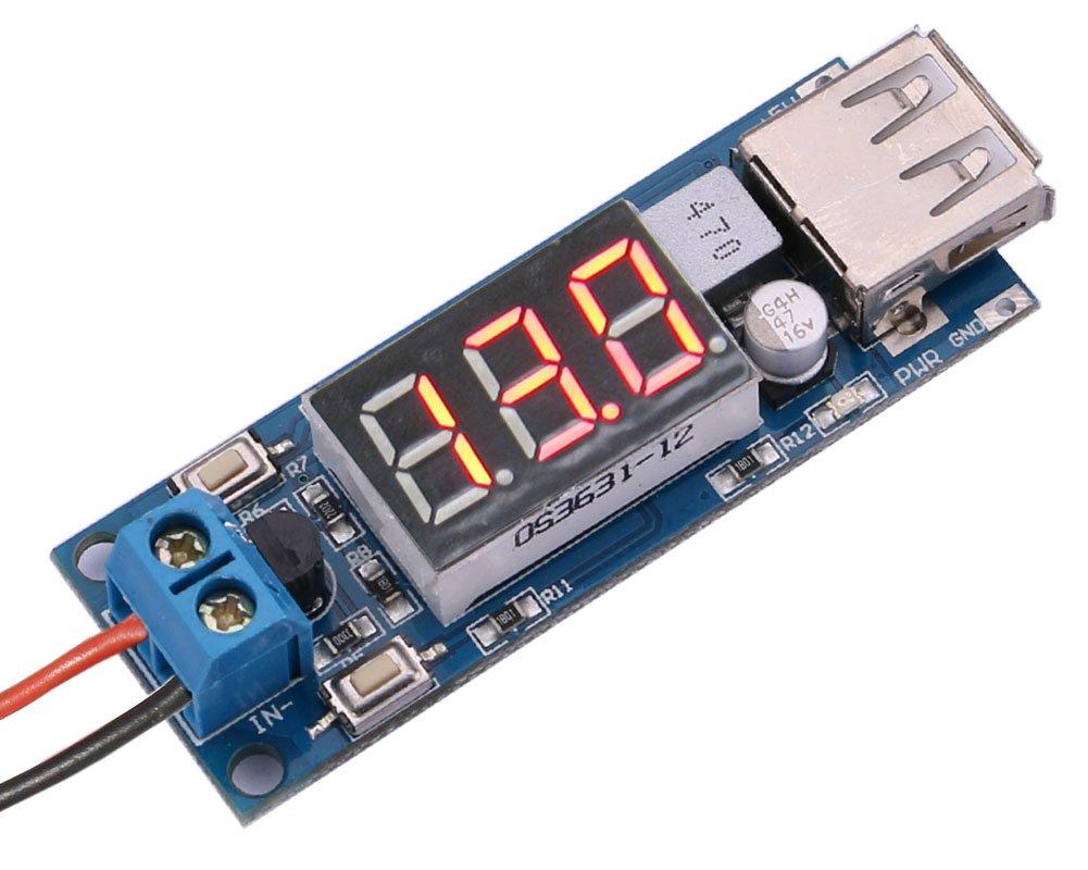 Yeeco DC DC BUCK Converter Voltage Regulator Power Supply Step down Volt Regulated 4.5-40V 12V to 5V/2A USB Charger with LED Voltmeter Display 1400213