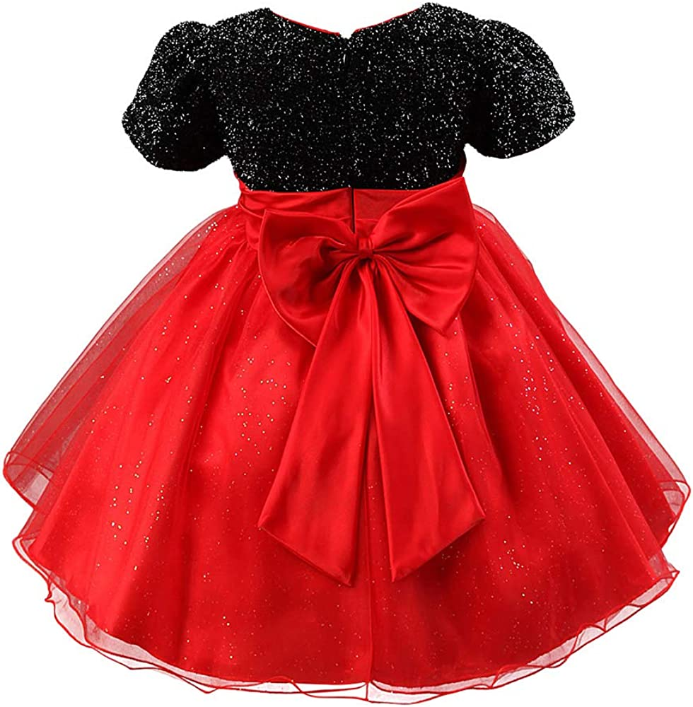 Toddler Girls Christmas Party Dress Bow Elegant Brilliant Tulle Lace  Bridesmaid Wedding Dress 6-6 Years