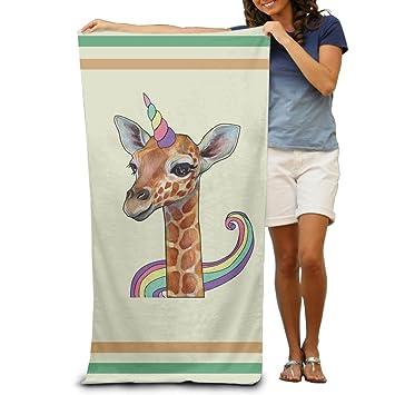 Unicornio Cuerno y jirafa toallas de baño toallas de playa de toallitas adultos suave absorbente: Amazon.es: Hogar