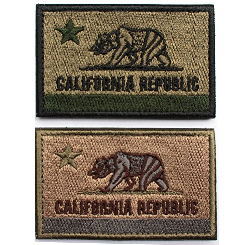 2pcs Bundle -California State Flag California Republic Bear Tactical Morale Patch Wth Backing Coyote Olive Drab Decorative Embroidered Appliques (Tan Olive Drab)