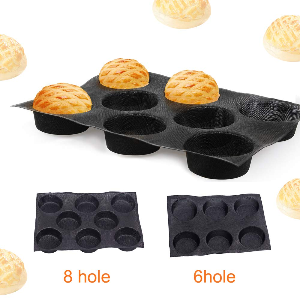 Silicone Non Stick Buns Hamburger Bread Maker Mold Pan Tray Perforated Baking Liners Mat Mould