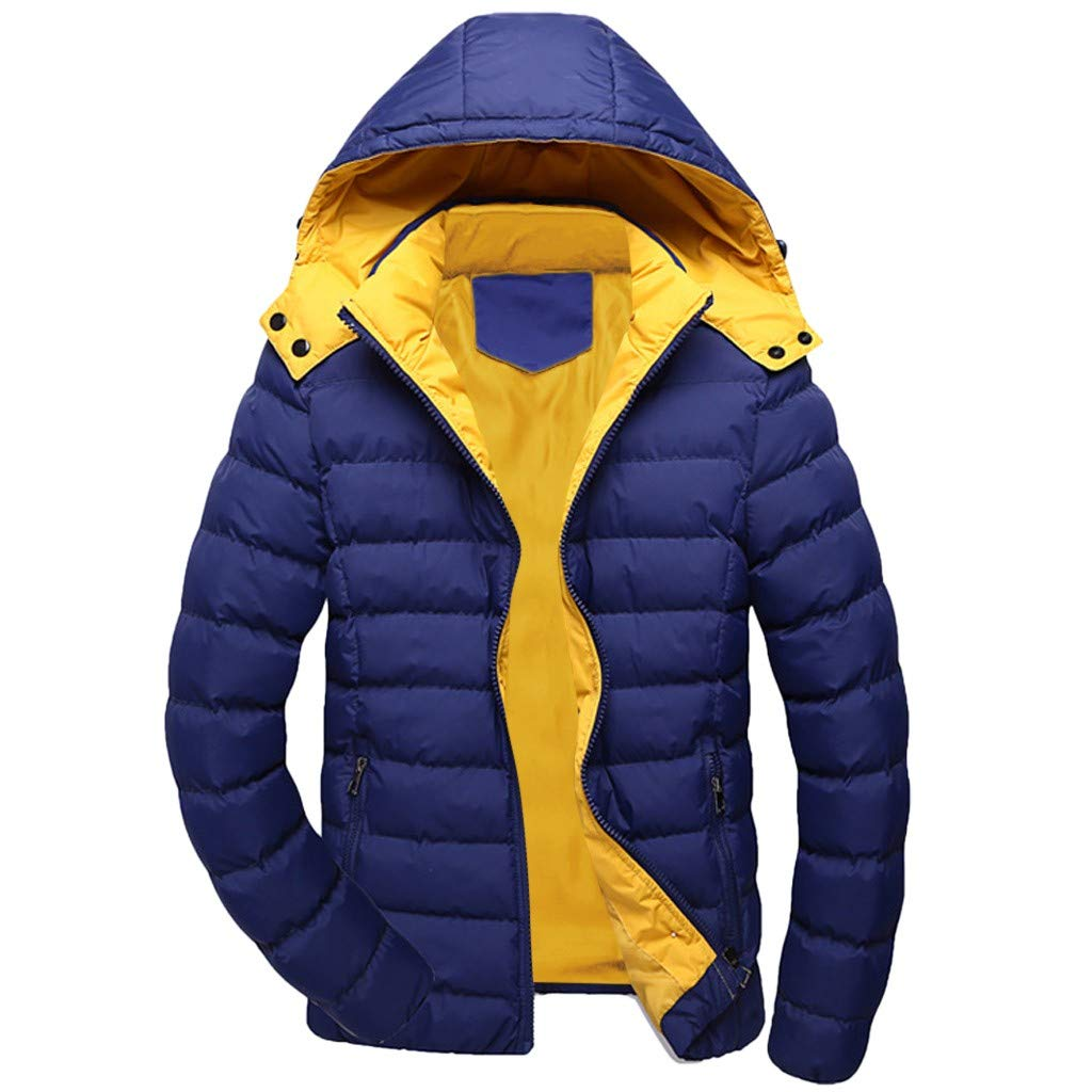 Mens' Warm Puffer Coat Heavy Winter Jacket Removable Hood Polar Fleece Lining Waterproof and Windproof Outdoor Jacket by VEZARON